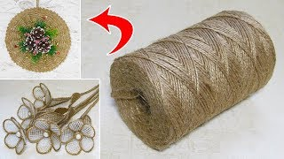 10 IDEAS crafts from JUTE. Do it yourself. Ideas for Christmas crafts.