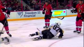 Marc Methot Hip Check sends Crosby Flying into a Collision With Dupuis Dec 23 2013