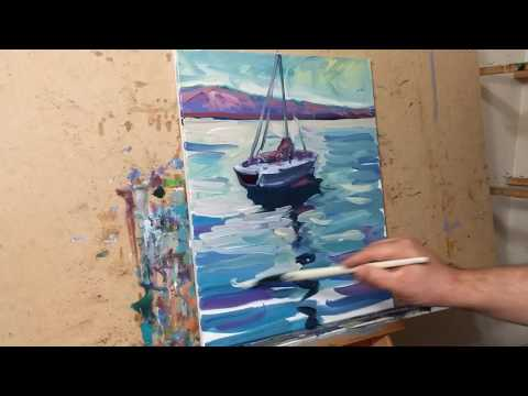 Oil Painting Session Demo Tutorial Impressionist Seascape with Boat by Artist JOSE TRUJILLO