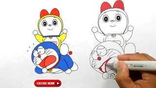 Drawing Doraemona and Doremi Step by step