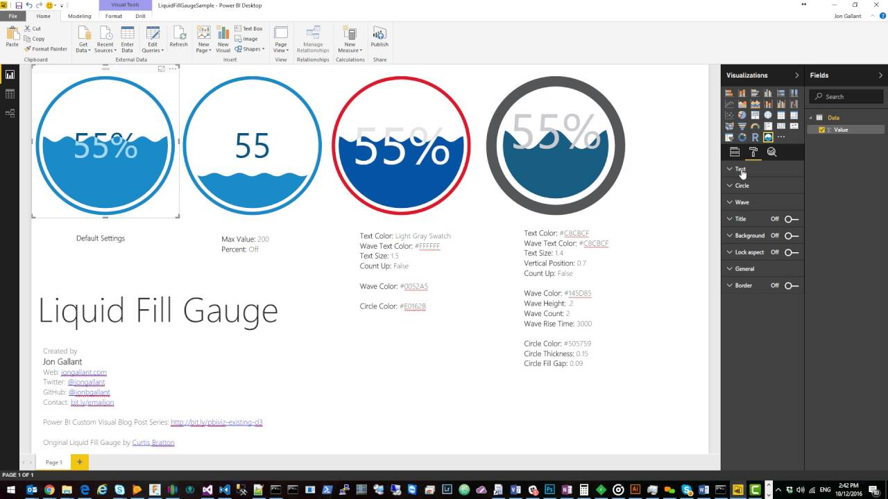 Visual Awesomeness Unlocked: Liquid Fill Gauge | Microsoft Power BI
