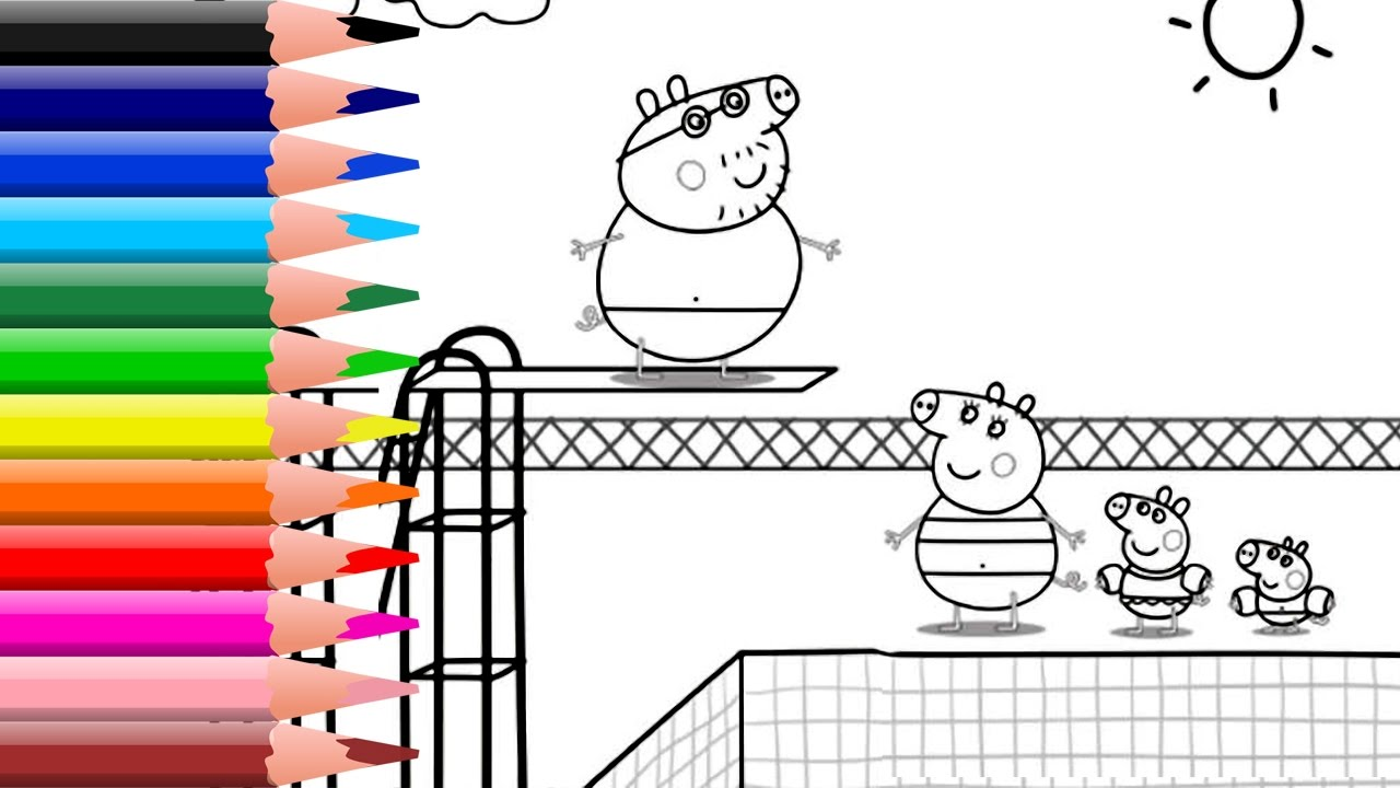 Peppa Pig Swimming Pool Coloring Book Pages Kids Fun Art