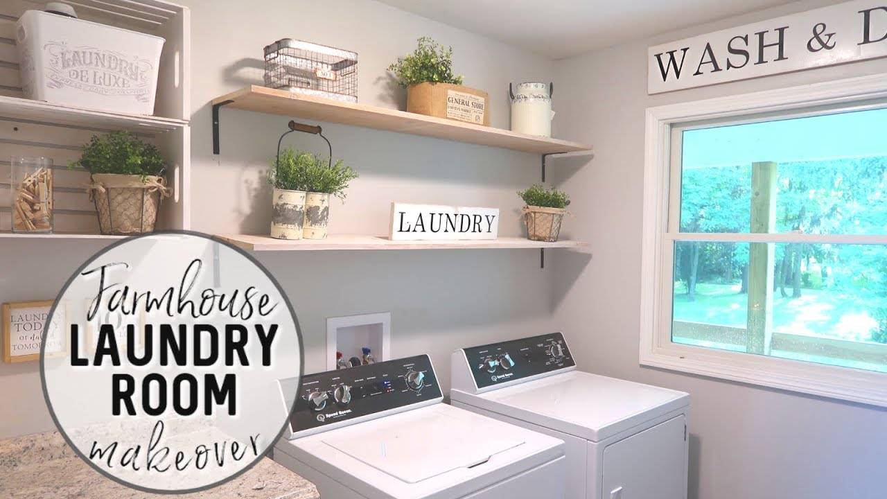 farmhouse laundry room decorate with me
