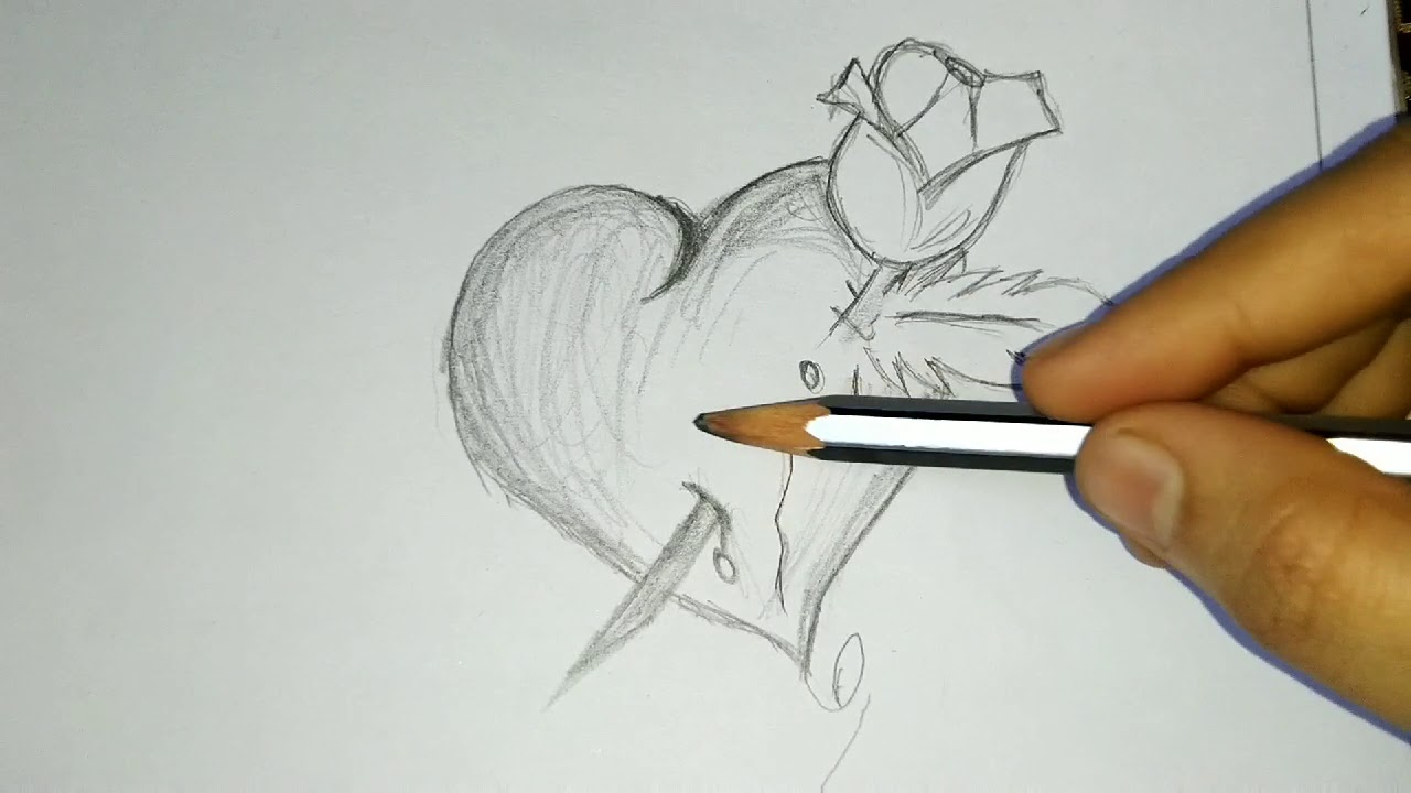 Heart And Rose Drawing In Pencil Youtube