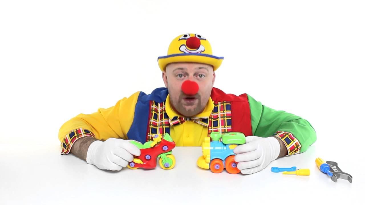 Clown alex trenino moto da corsa cartoni animati per