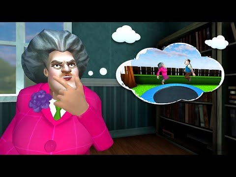Как пройти уровень с батутом в игре Scary Teacher 3d