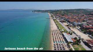 Jerisos Grcka .Atos.Jerisos  plaža iz vazduha .Ierissos beach from the air 4K