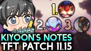 KIYOON'S NOTES TFT PATCH 11.15 (TIERLIST/BEST META COMPS) | Teamfight Tactics