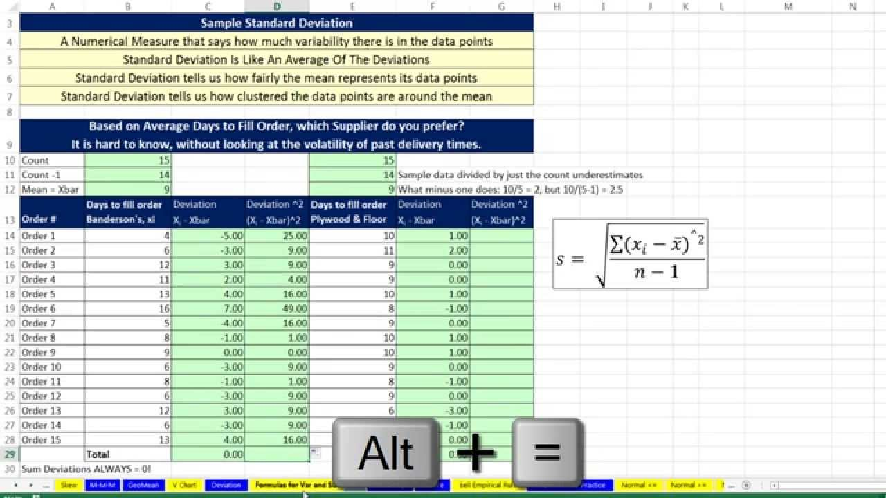 Basic Excel Business Analytics 23 Variability Variance – Variance and Standard Deviation Worksheet