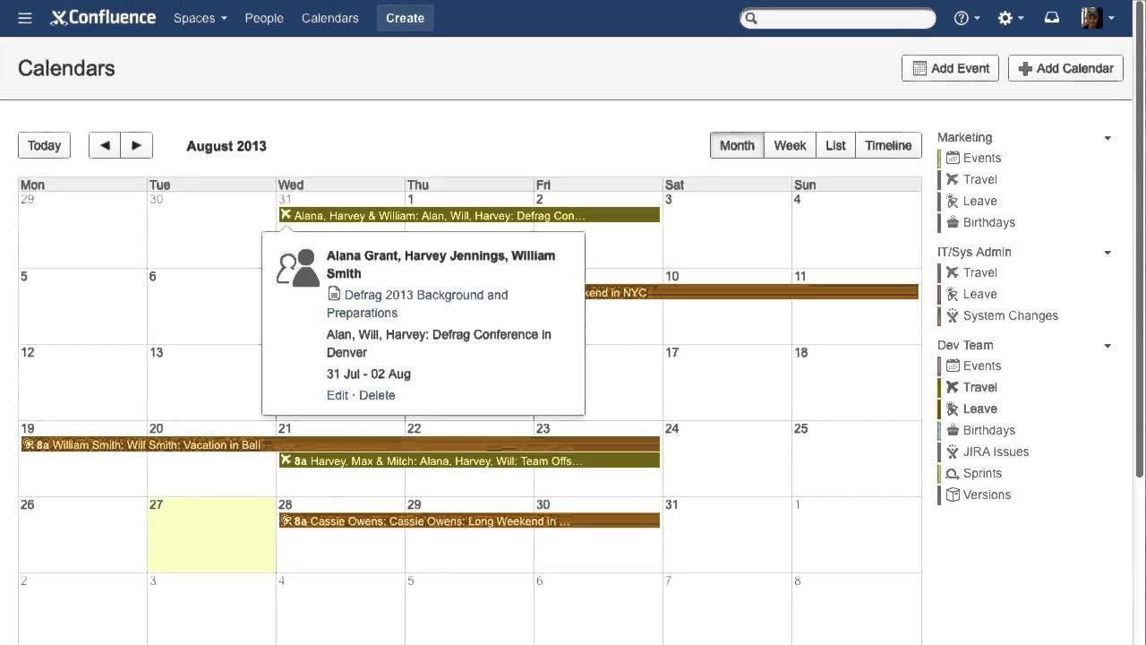 Team calendars for atlassian confluence demo video youtube - Restaurant confluence domo ...