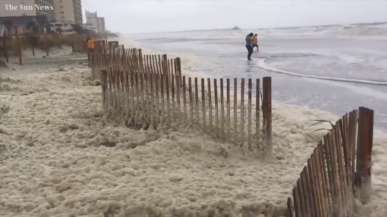 Piles Of Sea Foam Waves Mark High Tide As Florence Continues In Myrtle Beach