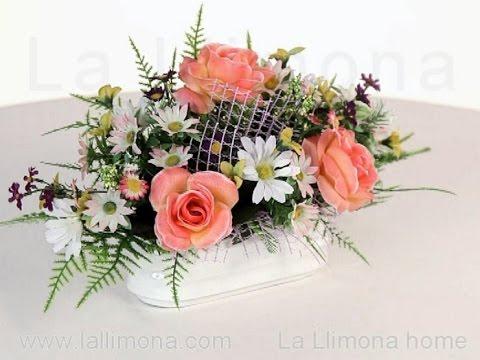 Arreglos florales jardinera cer mica rosas artificiales - Centro de mesa con flores artificiales ...