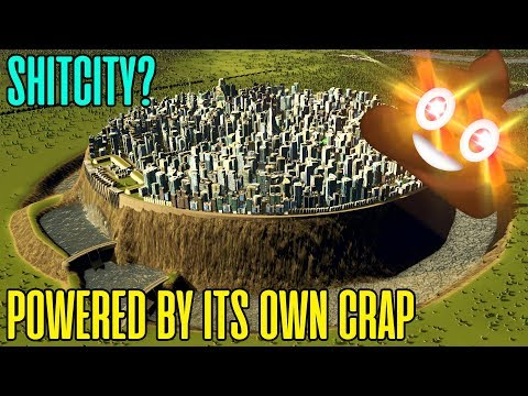 POWERING A CITY WITH POOP WATERFALL -  Cities Skylines Experiment