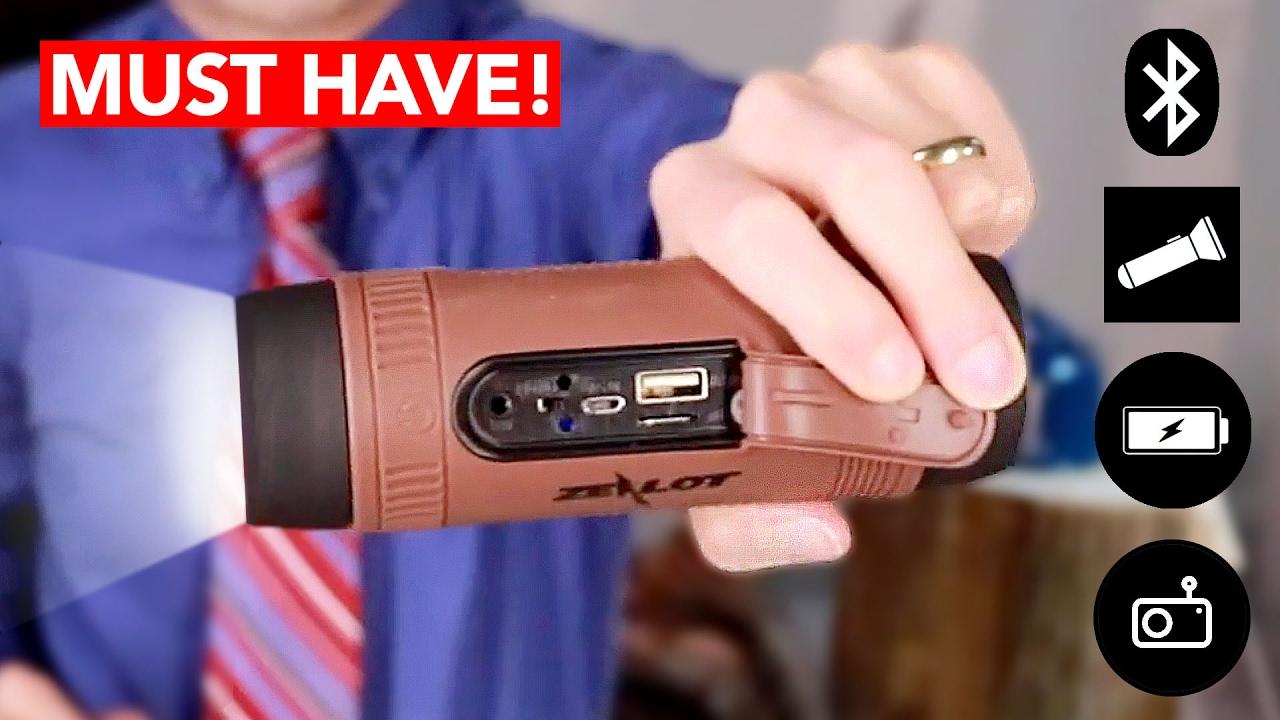 4-in-1 Power Bank, Speaker, Flashlight + Radio - BEST Survival Gadget!