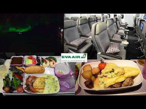 EVA Air 777 Premium Economy + Aurora Borealis Chicago O'Hare to Taipei