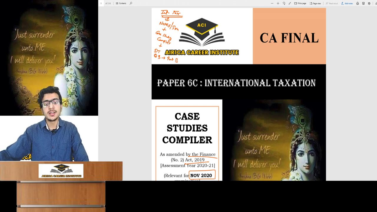 Important Announcement | Free International Tax CASE STUDIES Compiler  FULLY AMENDED for Nov 20 exam