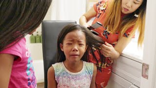 Straightening My Blasian Daughters Natural Hair For the First Time!!   Mixed Kids Curly to Straight