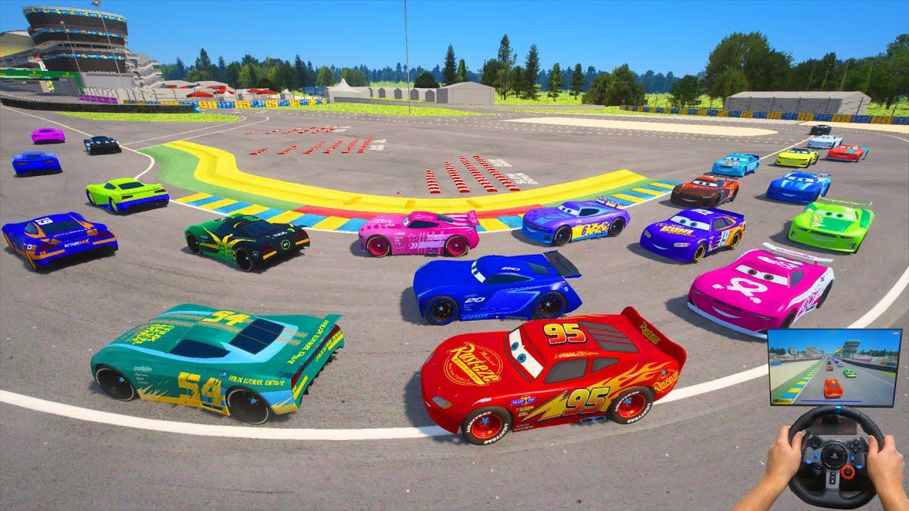 Race All Cars 3 Le Mans Circuit McQueen VS Next Gen Jackson Storm Herb Curbler Flip Dover & Friends