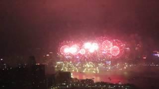 Новогодний салют 2017 в Гонконге. Полная версия. Вид с самого высокого здания