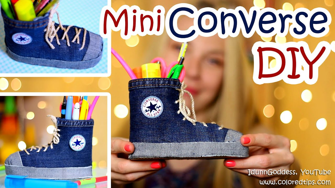 DIY Mini Converse Shoes Pen Holders Out Of An Old Jeans and ... for Diy Plastic Bottle Pen Holder  557yll