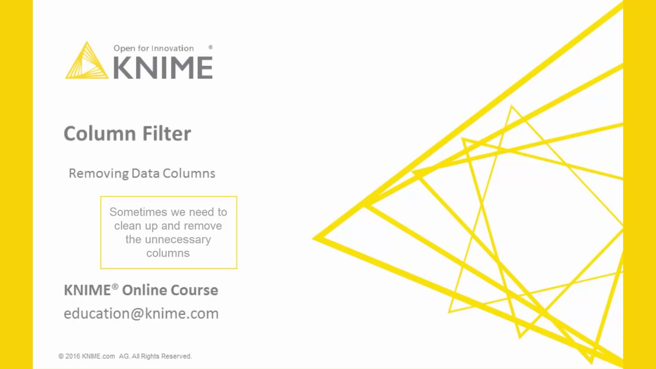 ETL with KNIME. What is Column Filtering? - YouTube