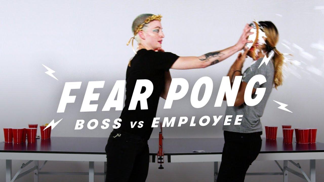 Boss & Employee Play Fear Pong (Brit vs. Dheyvi) | Fear Pong | Cut