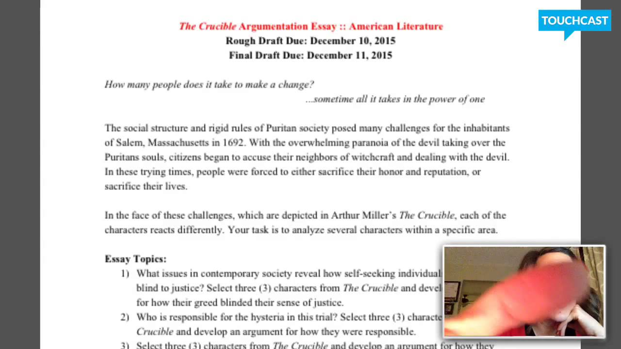 Essay Mother Teresa English   The Crucible Essay David Hume Essay also Compare And Contrast Essay Topics For College English   The Crucible Essay  Youtube The Old Man And The Sea Essay