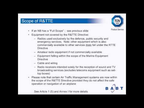 Introduction to the R&TTE Directive