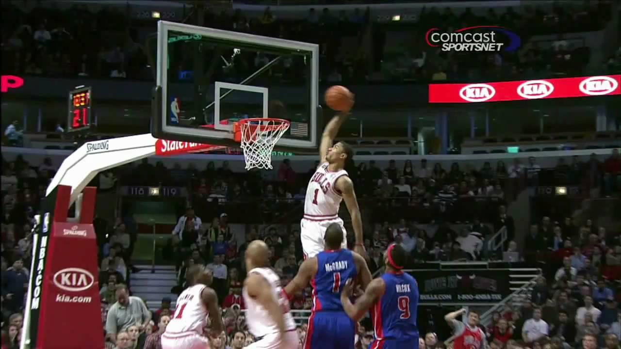 Derrick Rose AMAZING Alley Oop Dunk vs Detroit Pistons 1