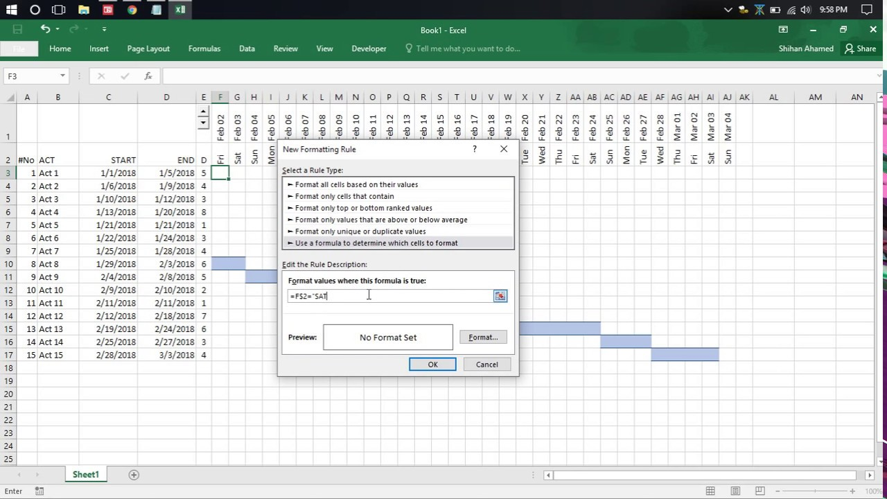 Making gantt chart in excel youtube making gantt chart in excel nvjuhfo Images