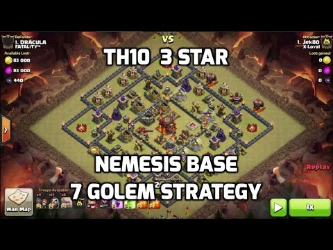 3 Star TH10 on Nemesis Base - 7 Golem Strategy | Mister Clash | Clash of Clans