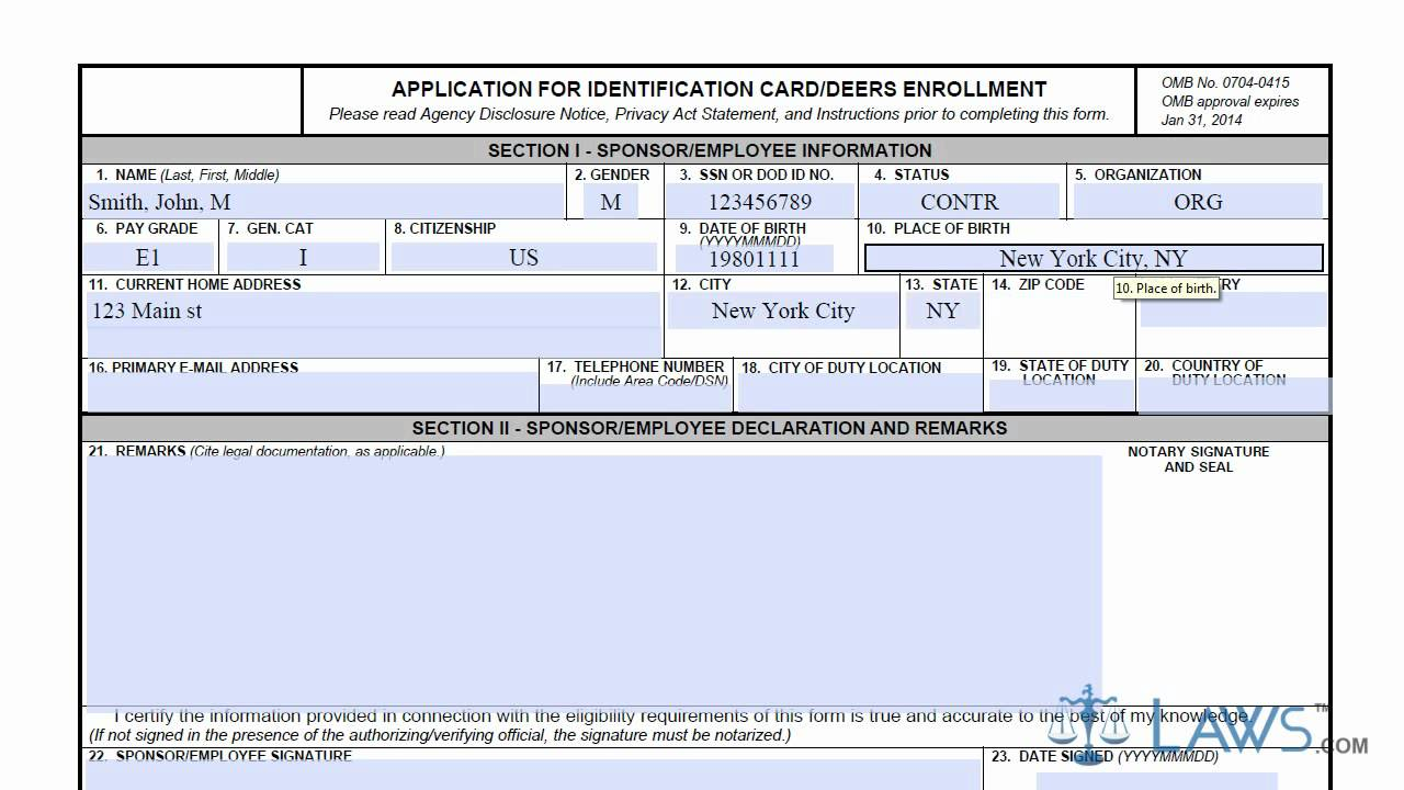 Deers Dependent Id Card Form   Applydocoument co