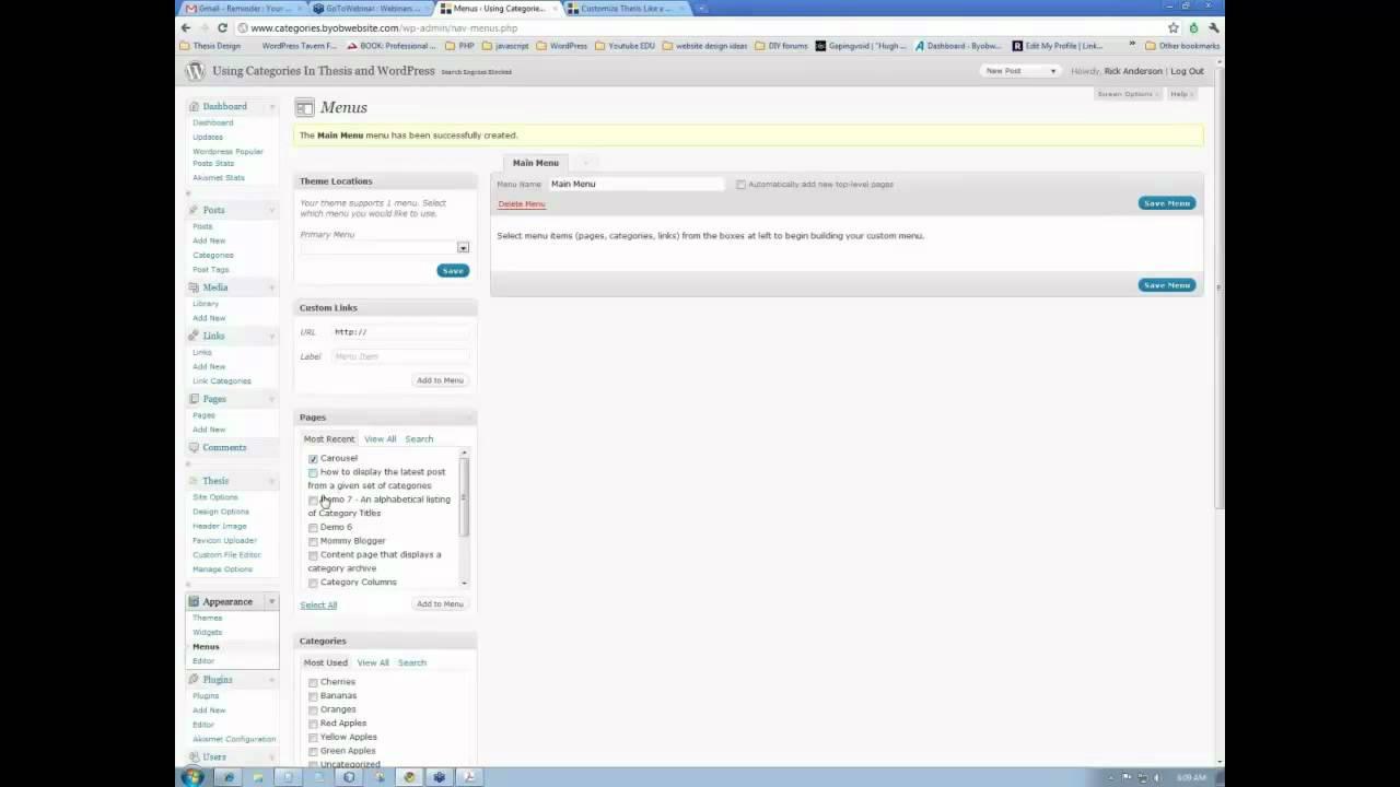 Custom thesis nav menu wordpress drop down menu