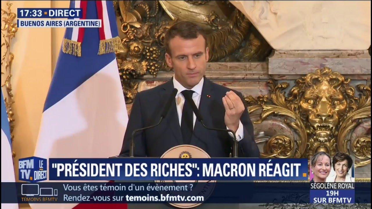 Président des riches ? En visite en Argentine, Macron réagit