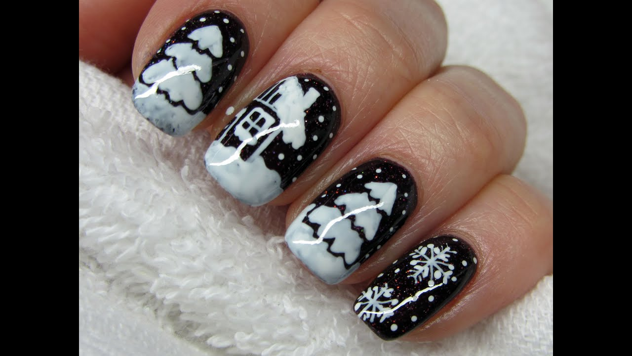 Christmas Tree And Snowflakes Choinka I Sniezynki Zimowe