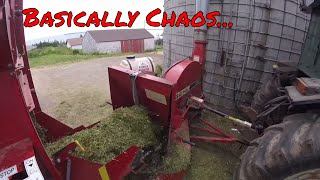 Unloading Silage Wagons Back to Back to Back...