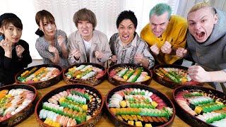 【寿司40人前】女性大食いYouTuberを男4人で本気で倒しにいったら死闘が生まれた!!!【三年食太郎】