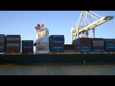 Bay Area Container Ship Spotting - Hanjin Indonesia at Port of Oakland  June 18, 2013