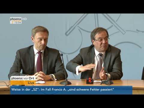 Sondierungsgespräche FDP/CDU: Pressekonferenz von Christian Lindner und Armin Laschet am 19.05.17