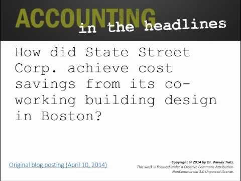 How did State Street Corp. achieve cost savings from its co-working building design in Boston?