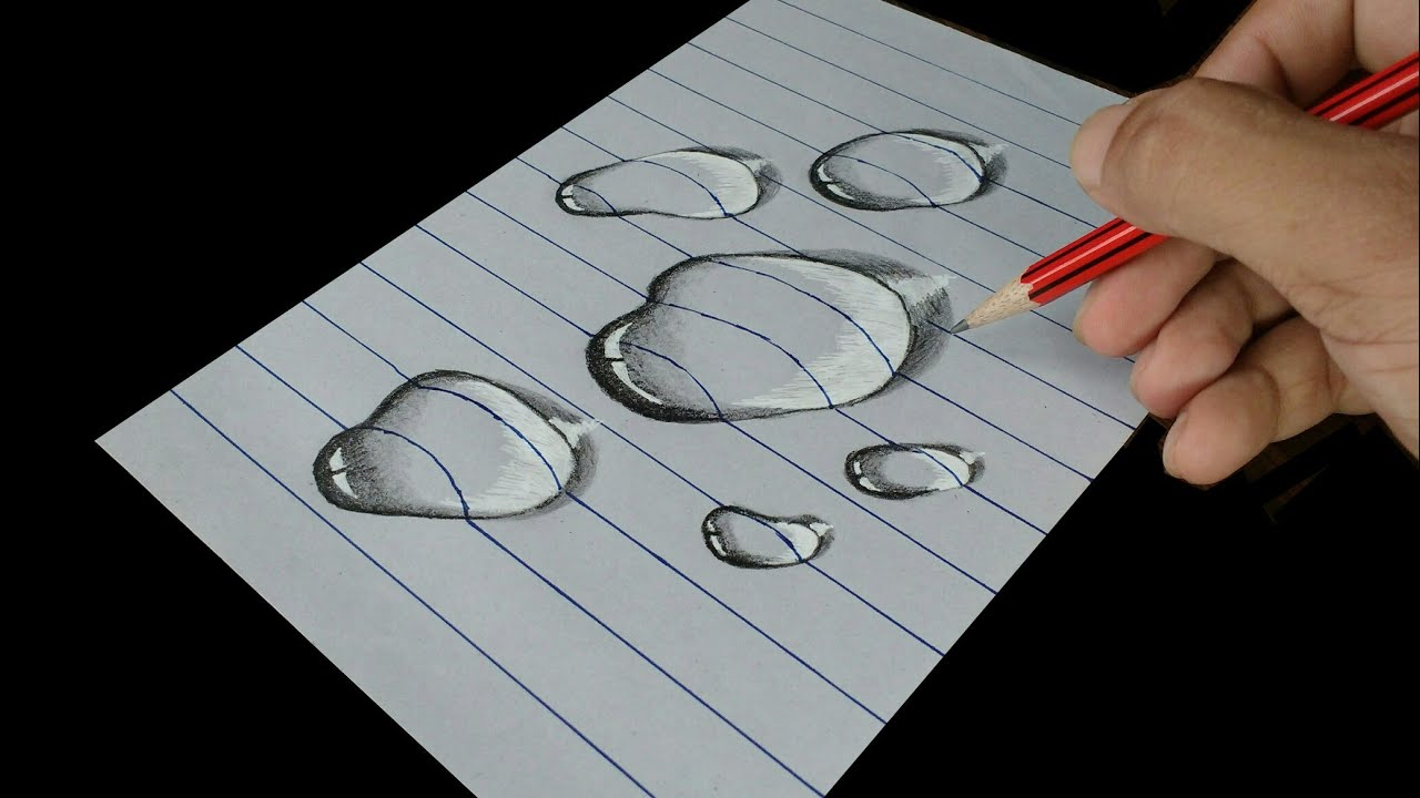 D Lined Paper Drawings : How to draw water drop trick art on line paper youtube