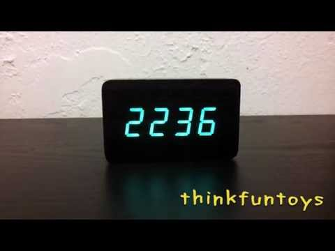 Modern Wood Green LED Desktop Clock