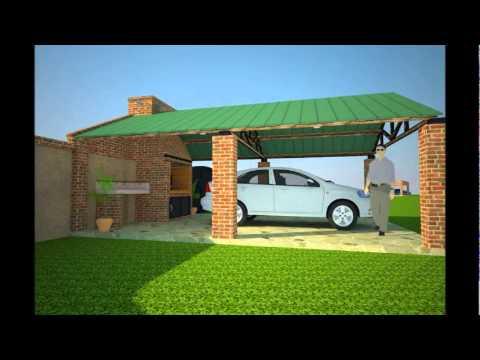 Dise os y renders de quinchos con asador vol 1 youtube for Como hacer un techo economico