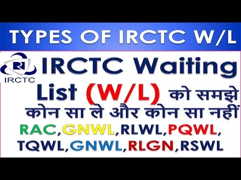IRCTC Waiting List (W/L) को समझे कोन सा ले और कोन सा नहीं  RAC,GNWL,RLWL,PQWL, TQWL,GNWL,RLGN,RSWL