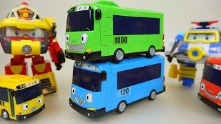 Tayo bus & Robocar Poli car toys blocks and rescue in water 타요와 폴리