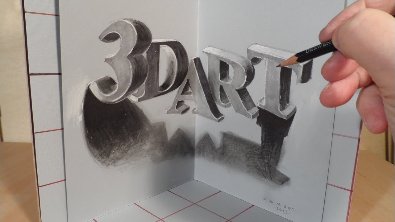 drawing 3d art letters three dimensional space youtube