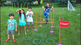 Obstacle Course Challenge with HZHtube Kids Fun
