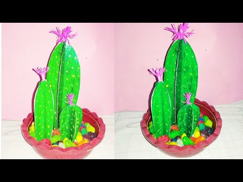 How to make artificial cactus plants at home  DIY fake cactus plants  kb crafter