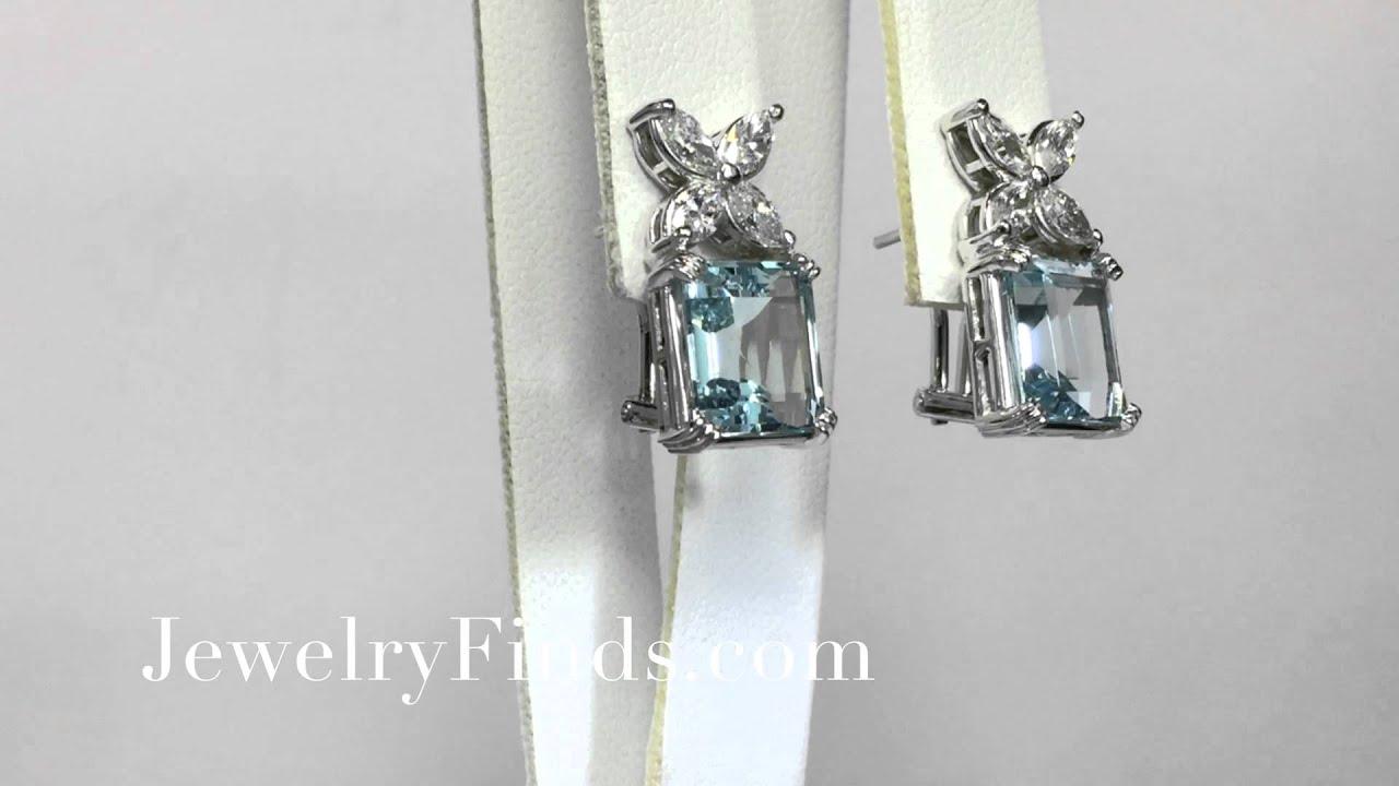 Clic 6ctw Emerald Cut Aquamarine Marquise Diamond Earrings 14k