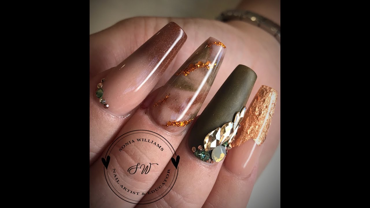 Olive Green Copper Autumn Nails Acrylic